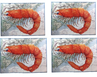 Shrimp on Charleston SC Nautical Chart,  set of 4 Canvas Placemats, FREE shipping