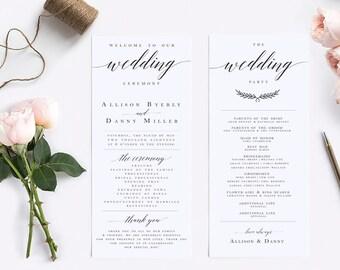 Elegant Calligraphy Wedding Program Template Modern Wedding Program Template  Wedding Program Printable Wedding Ceremony Template #WP30