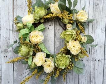 Yellow Spring Wreath, Pastel Wreath for Door, Easter Wreath, Floral Wreaths, Spring Wreaths