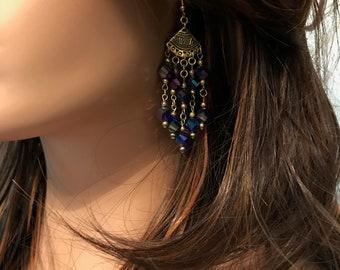 Crystal Earrings: Purple Swarovski Helix Crystals