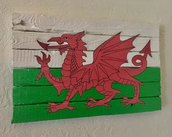 Large Recycled Barn Wood Welsh Flag