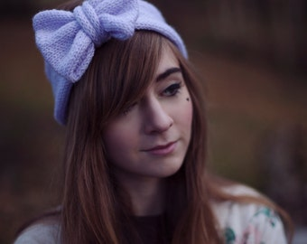 Sparkle Lilac Knitted Headband, Glitter Knitted Headband, Cute and Cosy Ear Warmer in Sparkly Pastel Lilac