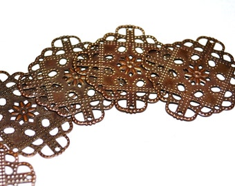 30 Pieces Copper Plated 36x36 mm Square Filigree Findings