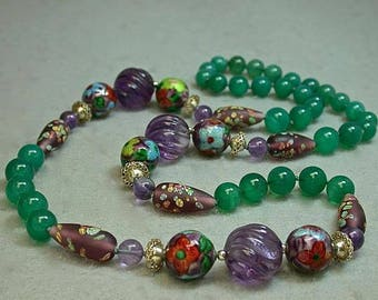 Vintage Carved Amethyst Bead Knotted Necklace ,Vintage Chinese Blue Cloisonne, Vintage Japanese Millefiori Glass , Emerald Green Onyx Beads