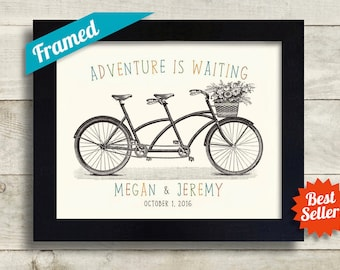 Gift for Wedding First Anniversary Gift for Couples Bicycle Theme Unique Engagement Gift Framed Tandem Bicycle for Two Bride and Groom