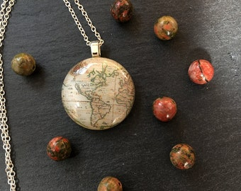 """Fused Glass and Sterling Silver Vintage Map Pendant_ """"Americas"""""""