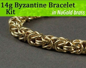14g Byzantine Bracelet Chainmaille Kit in NuGold Brass