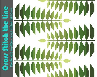 Minimalist cross stitch pattern of fern leaves in beautiful shades of green. Modern retro design. Contemporary PDF embroidery chart.