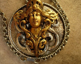 Gothic ships head goddess NEcklace with mirror on the back