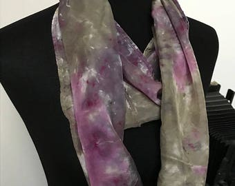 Prophetic - Silk Scarf - Gifts for Women - Dyed Silk - Christian Gifts - Narrow Infinity Silk Scarf called In the Charge of Angels