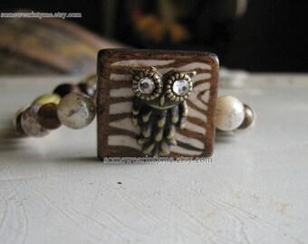 Beaded bracelet |women  | owl charm | tigers eye | gemstone | rustic | final sale