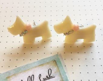 Scottie Dog Earrings. Dog Earrings. Cream Dog.