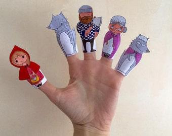 Marionetas de papel para dedos: Caperucita Roja | DIY Printable Finger Puppets little Red Riding Hood