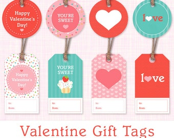Printable Valentine Gift Tags - Set of 8 Valentine's Day Gift Labels - Instant Download -  Cupcakes & Hearts Printable Valentine Tags