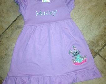 Easter Bunny Dress, Monogrammed Spring Dress, Easter Bunny Girls Dress, Easter Outfit Baby Girls