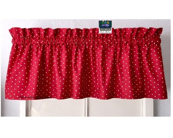 """Red Tiny Dot Kitchen Curtain Little Curtain 11"""" x 42"""" Valance Red Curtain Small Curtain Red and White Valance Idaho Gallery"""