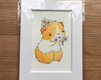 Original Painting - Guinea Pig flower picture