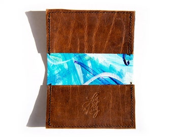 Hand Painted Recycled Wallet: Steamboat No. 12