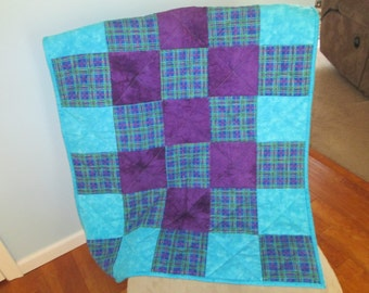 Purple Blue Squares Flannel Baby Quilt