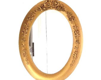 Vintage Oval Mirror, Wood and Gesso Framed Gilt Mirror, Rose Swags, Patina