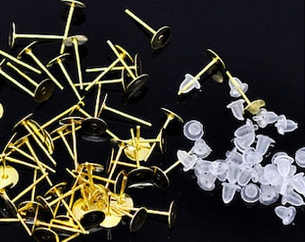 8 mm Gold Plated Earring Posts with Silicon Earring Nuts - CHOOSE From 5 to 500 pairs