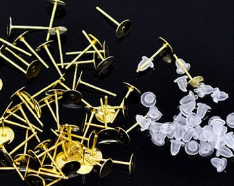 500 pcs (250 pairs) 6 mm Gold Plated Earring Posts w Nuts