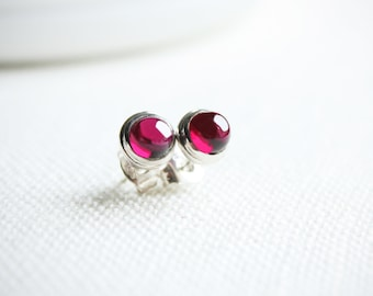 Garnet Studs, Gemstone Earrings, January Birthstone, Sterling Silver Stud Earrings, Dainty Stud Earrings, Red Earrings, Gift for Her
