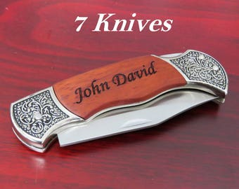 Seven Gifts Under 20 Dolalrs, Groomsmen Knives, 7 Engraved Pocket Knife, Groomsman Best Man Ring Bearer Gift