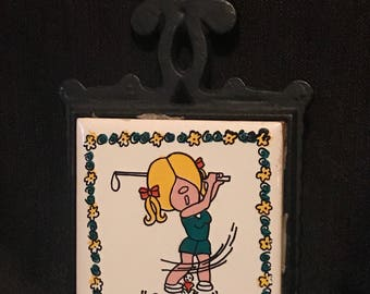 Vintage Trivet Wrought Iron with Tile Golfer