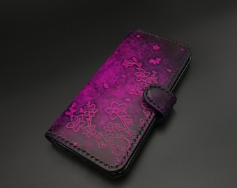 cherry blossom iPhone case,samsung galaxy s9 s9+,iPhone7 plus,iPhone8 plus case, leather case,iPhone X case, leather phone case,