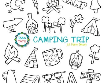 Camping Trip Digital Stamp - Camping Clip Art / Camping Doodles / Camping Party / Vacation Trip / Hand Drawn Clipart / Camping Printabl