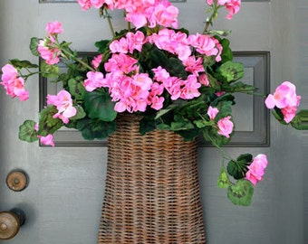 Pink Geranium Door Basket
