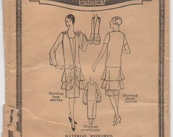 """1920's Pictorial Review One-Piece Dress and Flapper Overblouse pattern - Bust 36"""" - No. 3820"""