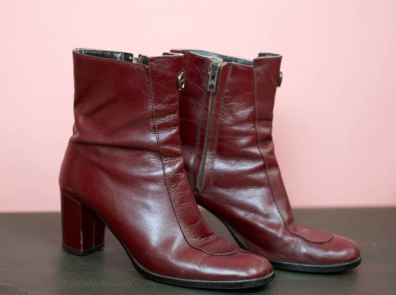 Ankle Aigner' Red Size Boots Burgundy Italian 'Etienne Heeled 6N Vintage Leather in Made Italy 4qwxS0x