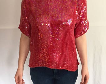 Albert Paul Red Sequin Shirt // Women's M // 80s Vintage Beaded Blouse