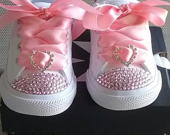 All White Converse,  Infant Toddler, Toes and Backs, Leather Sneakers, Pink Crystals,  Satin Ribbon Ties, Pink Bows, Sizes 2-10 real ties