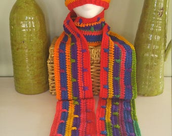 Accessories, Handmade colorful rainbow scarf set, scarf and hat