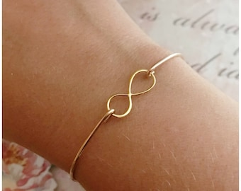 Gold Infinity Bangle Bracelet - 14k Gold Filled Cuff - Infinity Charm Bracelet - Personalized Holiday Gifts - Dainty Christmas Present