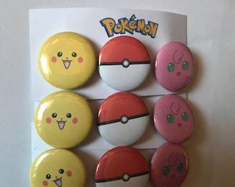 Pokemon Set of 3 Pin Button Badges, Pikachu, Jigglypuff and Pokeball