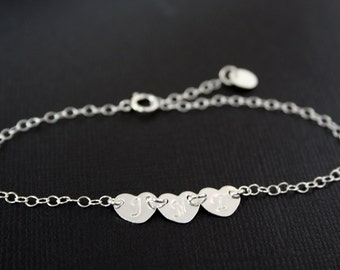 Three initial hearts bracelet - ALL STERLING SILVER, family Initial engraved bracelet , romantic birthday gift, for mom daughter, for wife