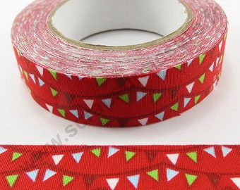Fabric tape - red flag - 15mm x 5 m