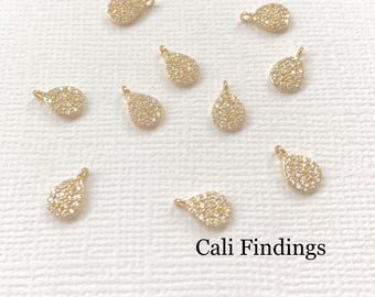 18K Gold Plated Mini Teardrop Pendant, Cz Pave Teardrop, Teardrop Charm, Teardrop Pendant, Cz Teardrop, Gold Teardrop Charm [1662]
