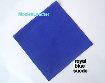 Royal blue leather suede  - electric blue suede leather