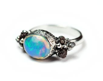 Opal Ring Granulation Rough Diamond Crystal Opal and Diamond Gemstone Jewellery OOAK Ring Size 9