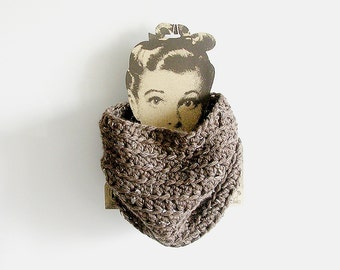 Chunky Cowl Crochet Taupe Scarf Unisex Man Woman Teen Tube Scarf