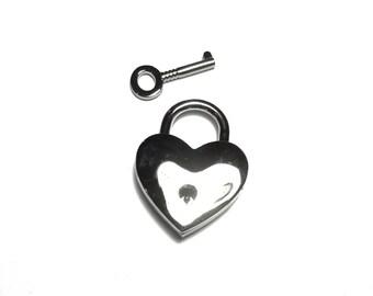 Heart shaped padlock silver KR-06N035
