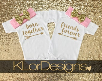 Twin baby girl, Twin Outfits, Twins, Born Together, Friends Forever, twin baby girls, twin girl outfits, twin baby gift, twin baby