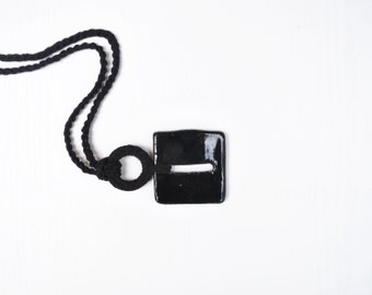 Long black ceramic necklace, ceramic jewelry, black square pendant necklace, gift for her