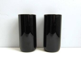 Vintage Libbey Metropolitan Black Amethyst Glass Tumbler Glasses  - Set of 2