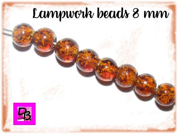 10 perles lampwork [SaddleBrown] 8mm
